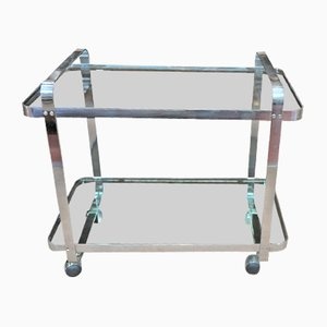 Chromed Metal & Glass Serving Bar Cart, 1970s
