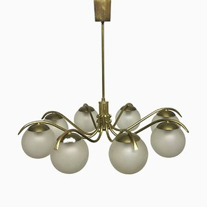 Large Vintage Brass and Glass Globes Sputnik Chandelier