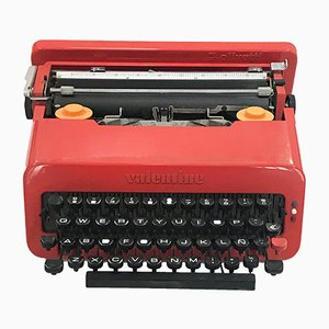 Machine à Écrire Valentine The Portable Red Vintage par Ettore Sottsass pour Olivetti
