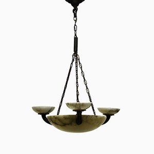 Lámpara colgante alemana de alabastro y bronce, década de 1900