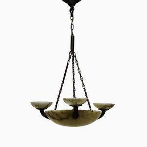 Lampe à Suspension en Albâtre et en Bronze, Allemagne, 1900s