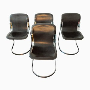Italian Brown Leather C2 Dining Chairs by Willy Rizzo for Cidue, 1970s, Set of 4