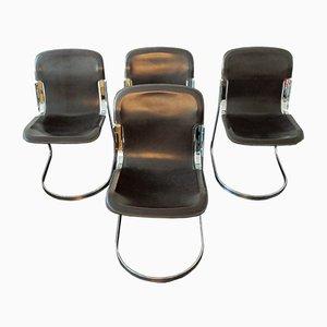 Sillas de comedor C2 italianas de cuero marrón de Willy Rizzo para Cidue, años 70. Juego de 4
