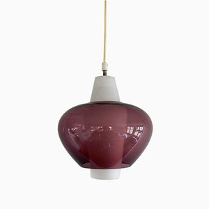 Lámpara colgante NG68 E / 01 de vidrio de Louis Kalff para Philips, años 60