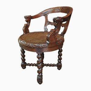 Solid Oak Rotating Chair, 1800s