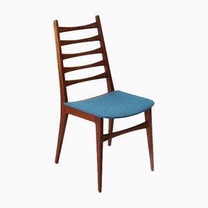 Sedia in teak e stoffa color petrolio, anni '60