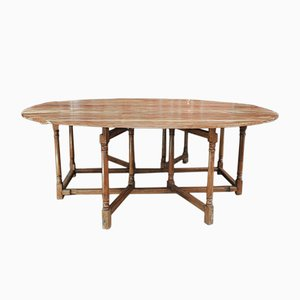 Large Oval Cherry Folding Table, 1950s