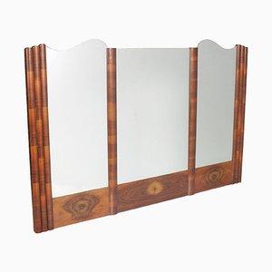 Espejo de pared Art Déco grande de madera nudosa de nogal, años 30