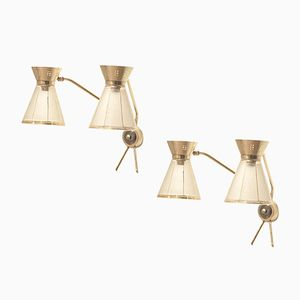 Diabolo Wandlampen aus Glas, 1950er, 2er Set
