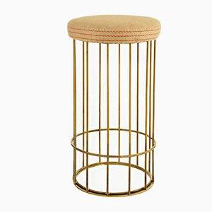 Sgabello Cage alto in iuta di Niccolò De Ruvo per Brass Brothers