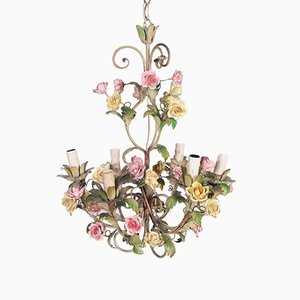 Antique Art Nouveau Iron & Ceramic Chandelier