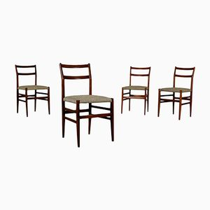 Italian Stained Beech & Fabric Chairs, 1950s, Set of 4