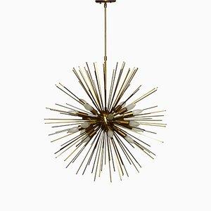 Großer Sputnik Kronleuchter aus Messing mit zwanzig Leuchtstellen, 1990er