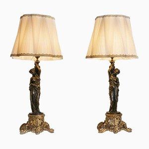 Lampes de Bureau Antique Dorées, France, Set de 2