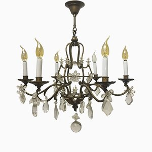 Gilt Iron and Crystal Chandelier from Maison Baguès, 1940s