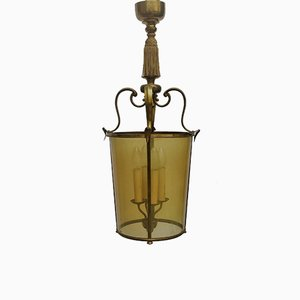 French Brass Lantern Pendant, 1950s