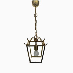 Small Vintage Polished Brass and Glass Lantern from Schroeder & Co