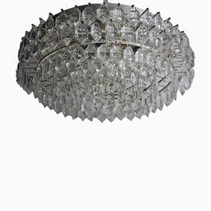Große österreichische Einbaulampe aus versilbertem Glas & Messing von Bakalowits & Söhne, 1960er