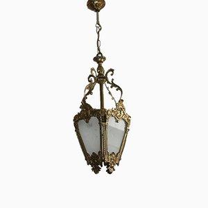 Lámpara colgante vintage de latón y vidrio tallado, años 60