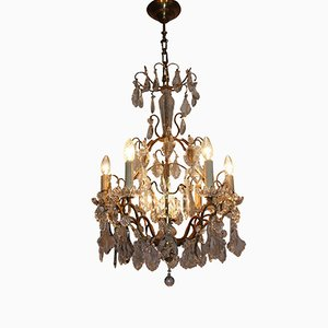 French Crystal and Gilt Brass Chandelier, 1940s