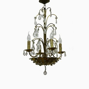 French Brass and Crystal Chandelier from Maison Baguès, 1940s