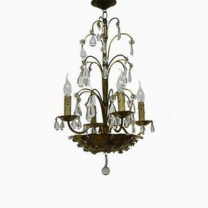 Lámpara de araña francesa de cristal y latón de Maison Baguès, años 40