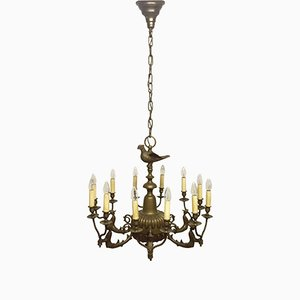 Large Solid Bronze Twelve-Light Chandelier, 1920s