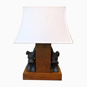 Vintage Tischlampe mit schottischen Terrier-Figuren