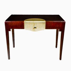 Dark Walnut Art Deco Desk with Parchment Top, 1930s