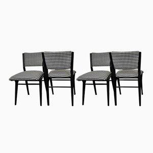 Dänische schwarz lackierte Stühle, 1960er, 4er Set