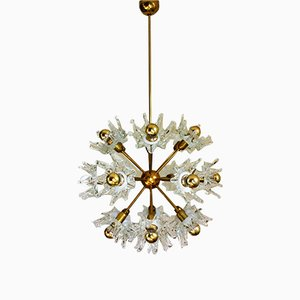 Mid-Century Murano Glass and Brass Sputnik Chandelier
