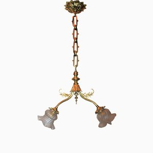 Art Nouveau Two-Light Brass and Glass Pendant, 1900s