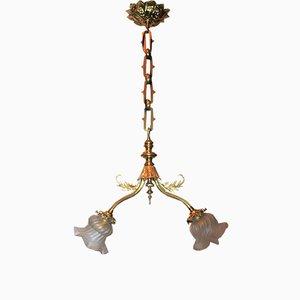 Lampada Art Nouveau in vetro e ottone, inizio XX secolo
