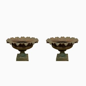 English Cast Iron Fluted Planter Urns, 1920s, Set of 2
