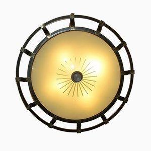Große Art Deco Einbau- oder Wandlampe aus Messing & Glas von Kaiser Leuchten