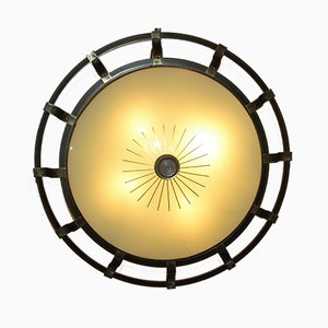 Lámpara de pared o plafón Art Déco grande de latón y vidrio de Kaiser Leuchten
