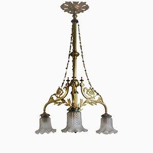 Jugendstil Deckenlampe aus Messing & Glas, 1900er