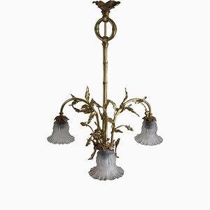Lampadario Art Nouveau in ottone e vetro, inizio XX secolo