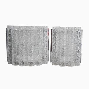 Mid-Century Wandlampen aus Glas & Nickel von Doria, 1960er, 2er Set