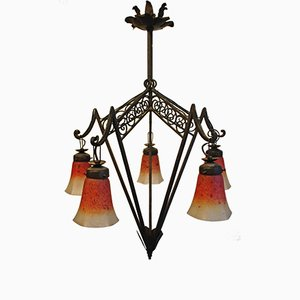 French Art Deco Wrought Iron & Glass Chandelier, 1920s