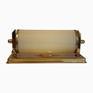 Art Deco Brass & Opal Glass Wall Sconce, 1930s