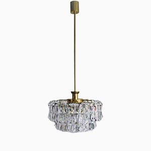 Mid-Century Crystal and Brass Chandelier from Kinkeldey