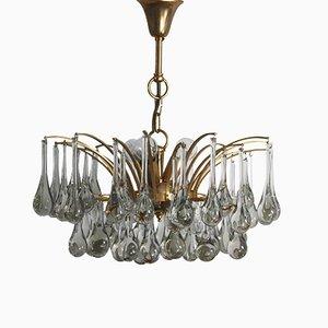 Lámpara de araña de cristal de Murano y latón, años 70