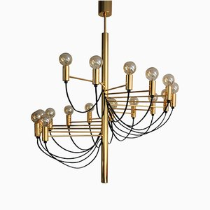 Golden 16-Light Chandelier by Gino Sarfatti, 1980s