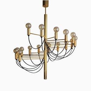Goldener 16-Leuchten Kronleuchter von Gino Sarfatti, 1980er