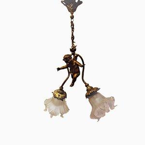 Lámpara de araña Art Déco con querubín de bronce y dos puntos de luz, años 20