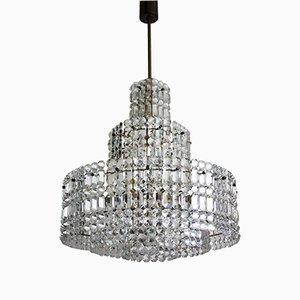 Lampadario grande in ottone e cristallo a cinque ripiani di Kinkeldey, anni '60