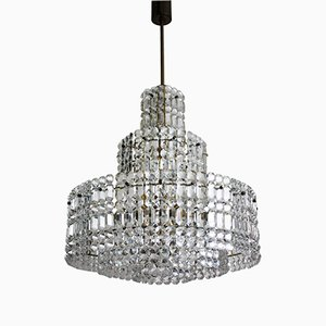 Large Five-Tier Brass Grip Crystal Chandelier from Kinkeldey, 1960s