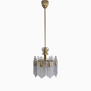 Mid-Century Gilt Brass and Glass Chandelier from Kaiser Leuchten, 1960s