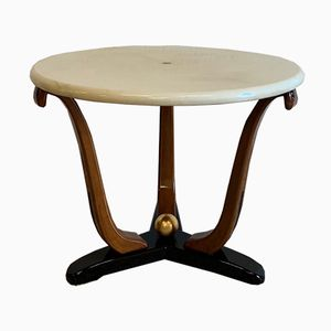 Art Deco Italian Parchment and Walnut Side Table, 1940s